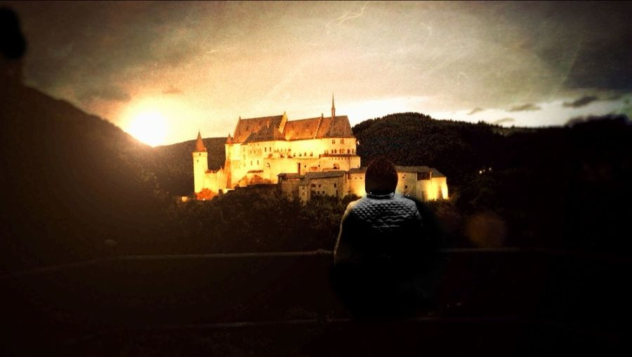 Castle Burg Vianden Luxembourg Sunset