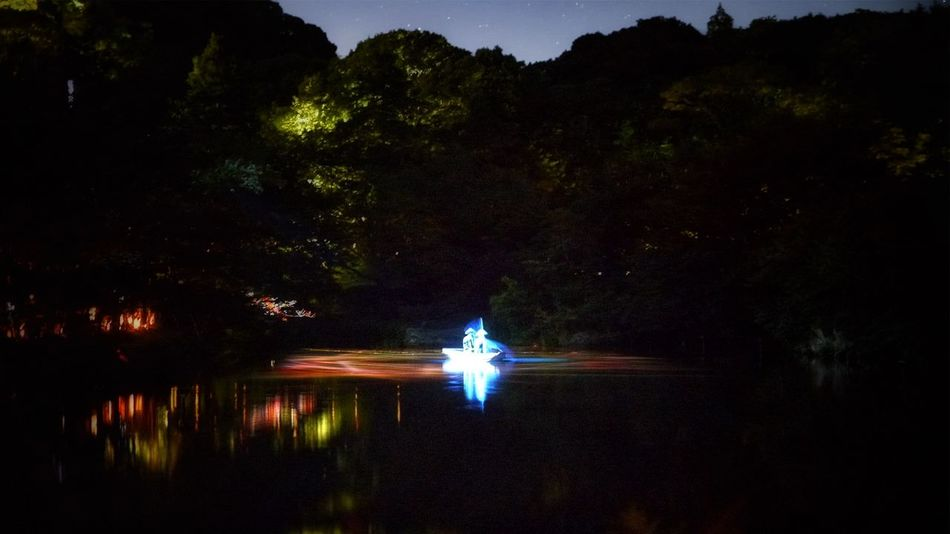 Nightphotography Projection Mapping Mifuneyama Rakuen pond Drawing Light And Shadow Water Reflections July 17 Takeo City Saga prefecture KYUSHU region Japan Photography Long Exposure 6 sec ISO 3200 LUMIX GX1