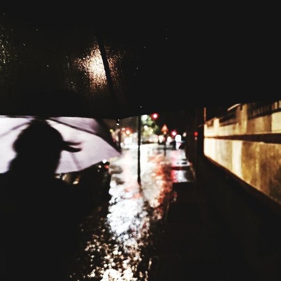 Umbrella Rain Fall Autumn Cold Temperature City Night Water Illuminated City Sky Torrential Rain Rainfall Monsoon RainDrop Drop Wet Weather Cyclone