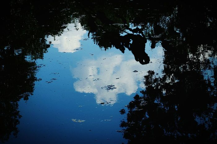 Clouds face in water Clouds And Sky Light And Shadow Nature Nature Photography Reflection Silhouette Water Reflections