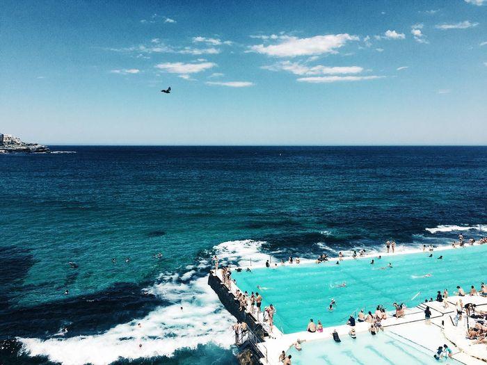 Icebergs Pool Icebergs, Bondi Beach Sydney, Australia Sea Water Sky Horizon Over Water Horizon Beauty In Nature Scenics - Nature Beach Land Blue Nature Tranquility Day Cloud - Sky Outdoors Turquoise Colored Idyllic First Eyeem Photo