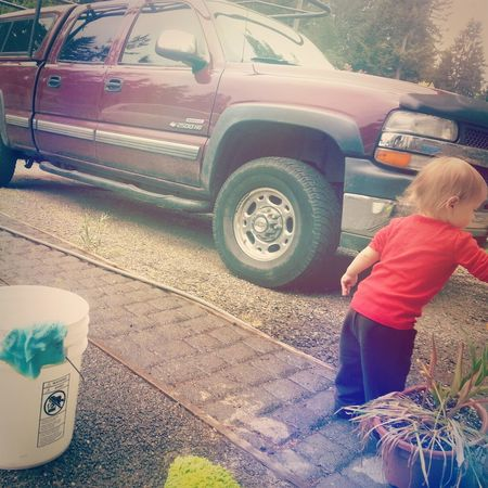 "AJ ""helping"" Papa & Uncle wash cars for Mother's Day. AravisJade"