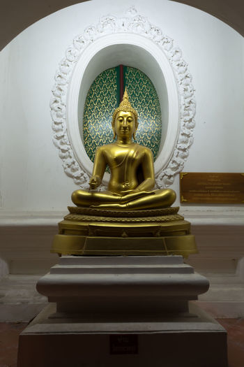 Close-up Day Gold Colored Human Representation Idol Indoors  Low Angle View No People Place Of Worship Religion Sculpture Spirituality Statue Thailand Nakhon Pathom Travel Old Buddha Statue Yellow Site Down Buddha Outdoors Gold Buddha Status Sitedown Large Group Of People Old Buddha Buddha