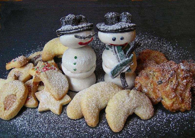 Christmastime Close-up Collection Cookies Creative Creativity Focus On Foreground Food Art Handmade By Me Man Made Object No People Snowman Snowwoman Still Life Tranquility Vanilla Crescents Variation Winter Style Wintertime
