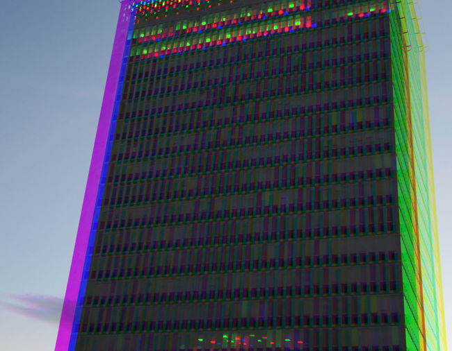 RGB Series: Folksamhuset / The Folksam house Architecture Building Exterior Built Structure City Life Diminishing Perspective Experiment Folksam Illuminated Modern Multi Colored Office Building RGB Skyscraper Tall The Color Of Technology Tower Triptych Urban Geometry