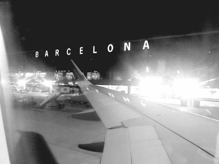Transportation Night Illuminated Airplane Arrivals Barcelona Arrival Terminal