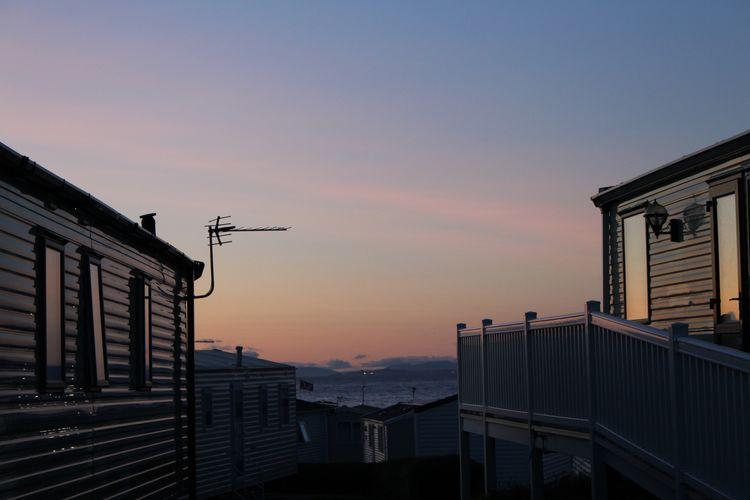 Scottish Caravan Park Sea And Sky Sunset Caravan Building Exterior Built Structure No People Outdoors Residential Building Sky Day