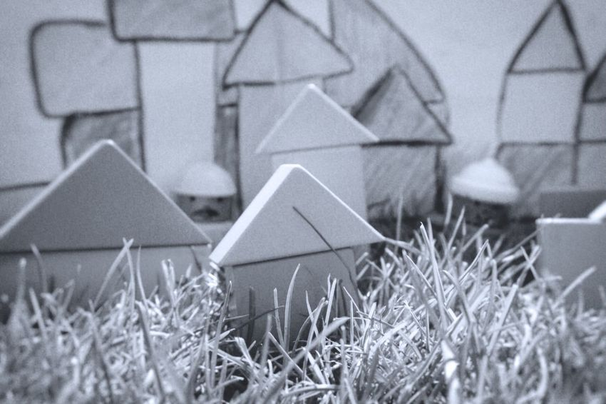 Architecture Blackandwhite Brick Built Structure Close-up Cryons Day Focus On Foreground Grass Growth Nature No People Outdoors Plant Selective Focus Toy Blocks Toy City Toys
