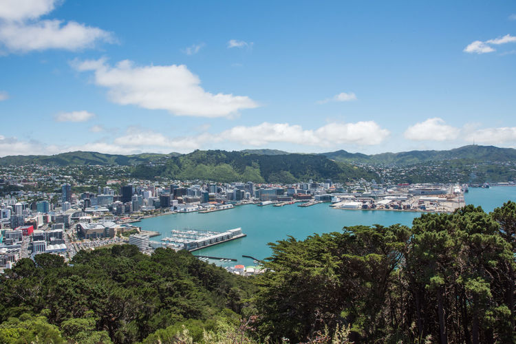 Wellington,North Island,New Zealand-December 14,2016: High angle view from Tinakori Hill lookout over the harbour, cityscape and landscape in Wellington, New Zealand Lookout Marina Panoramic Rolling Landscape Wellington  Architecture City Cityscape Cloud - Sky Harbor High Angle View Landmark Mode Of Transportation Mountain Mountain Range Nature Nautical Vessel New Zealand Sailboat Sea Tinakori Hill Transportation Travel Destinations Water Westpac Stadium