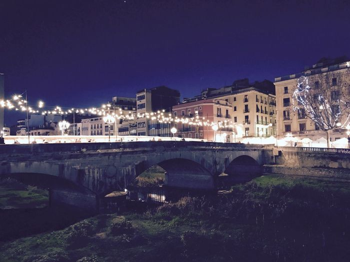 Girona #merrychristmas #girona Architecture Built Structure Building Exterior Night Water Illuminated Sky Adventures In The City