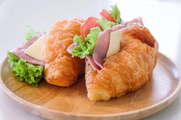 Breakfast Hamcheese Tomato Vegetable Butter Croissants Croissant For Breakfast Ham Cheese