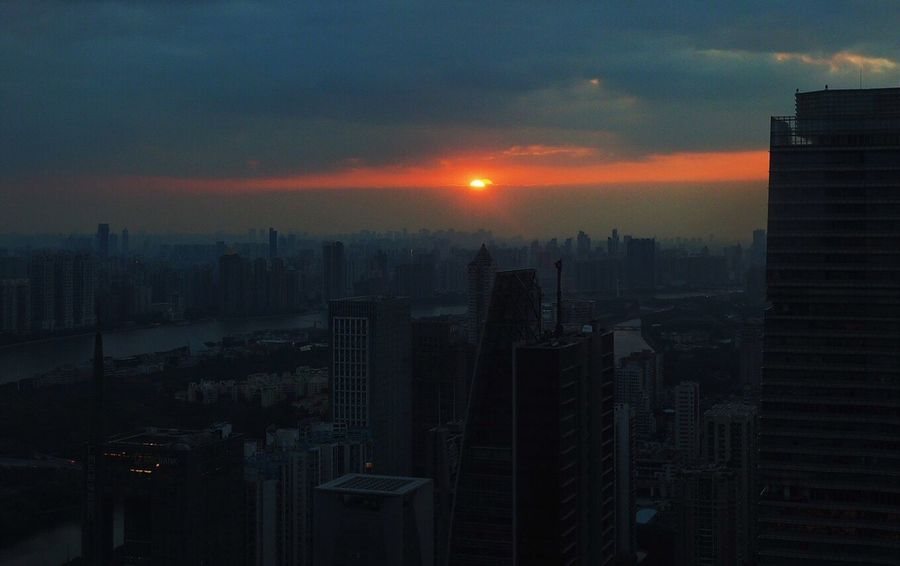 the Red Eye in the Sky Skyscraper Cityscape City Sunset Beauty In Nature