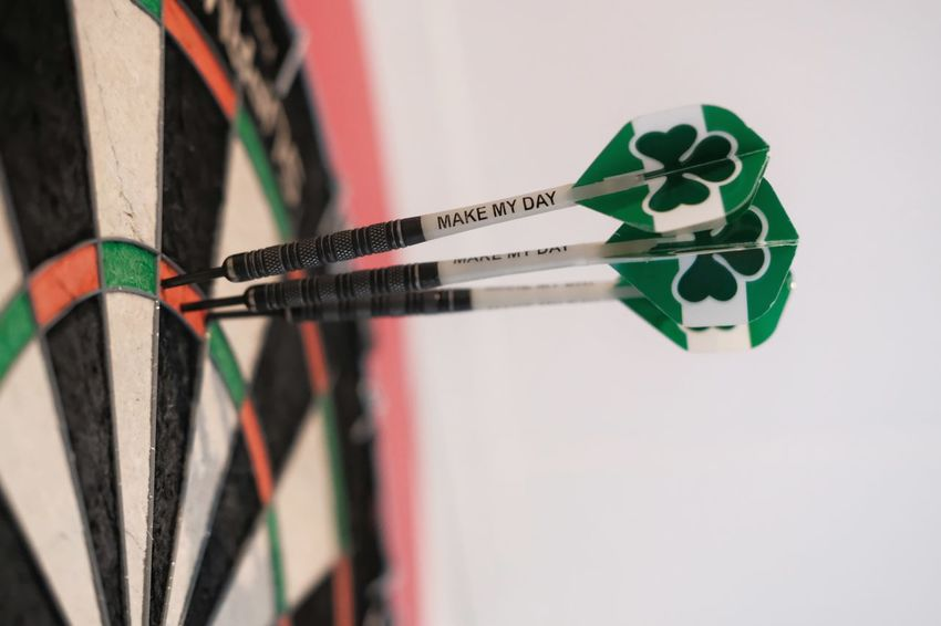 """Make my day"" Dartboard Darts Dartsgame Darts Game Sport Close-up Accuracy"