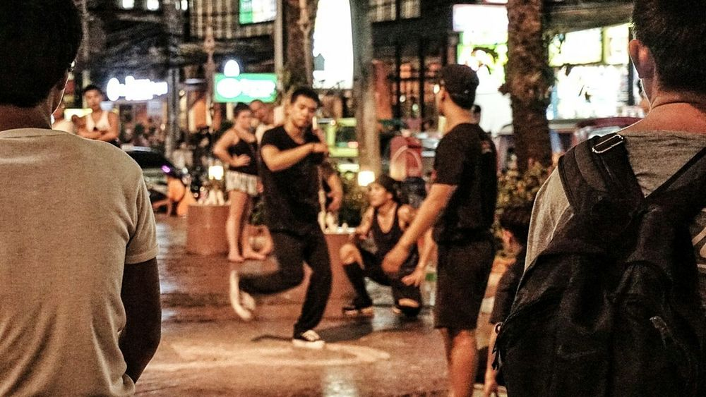 Audience Street Dancers B Boys Backpack Night Phuket Thailand Southeast Asia ASIA Southern Thailand Spotted In Thailand Evening Street Jungceylon Music Brings Us Together The City Light