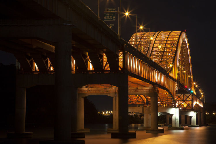 Arch Arched Architectural Column Architecture Banghwadaegyo Bridge Bridge - Man Made Structure Building Exterior Built Structure City City Life Connection Engineering Han River Hangang Park Illuminated Low Angle View Night No People Outdoors The Way Forward Transportation