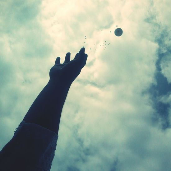 White Balloons Death Mourning Letting Go Human Hand Silhouette Sky
