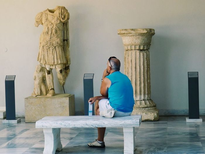Tourists Greece Olympia Thinking Headless Feel The Journey