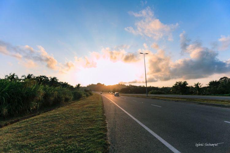 Start to a bright day Ray Of Sunshine Ray Of Sunlight Rays Of Light Orange Blue HDR Borneo Island Borneo Brunei Bn Sun Sunrise Sky Road Transportation Cloud - Sky Plant Tree Sunset Sunlight Street The Way Forward