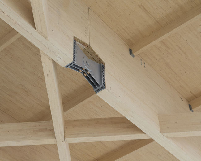Low angle view of roof beam