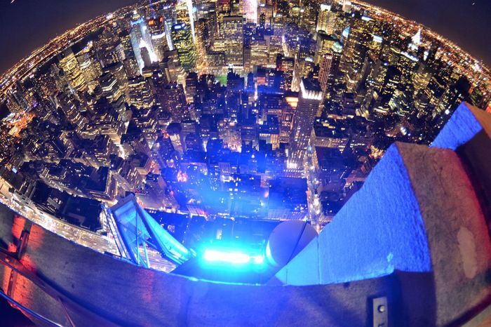 Night view from Empire State building Architecture Blue Christmas Christmas Decoration City Darkness And Light Empire State Building Fish Eye Fish-eye Lens Freedom Ice Rink Illuminated Lighting Equipment Modern Neon New York Night Night View Of Downtown No People Outdoors Round Round World Travel Destinations