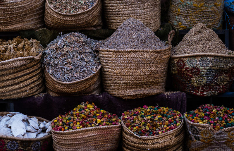 Choice Variation Market Large Group Of Objects Retail  Food And Drink For Sale Market Stall Container Basket Abundance Sack Multi Colored Food No People Arrangement Business Still Life Small Business Spice Sale Retail Display Market Travel Morocco EyeEm Selects