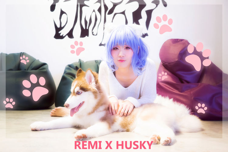 Remilia Scarlet Remilia Scarlet Touhou Project Cosplay Girl Single Solo Portrait Dog People Pet Husky Indoor Cafe Malaysia Animal Asdgraphy Sony A6000 Mammal Sony Woman