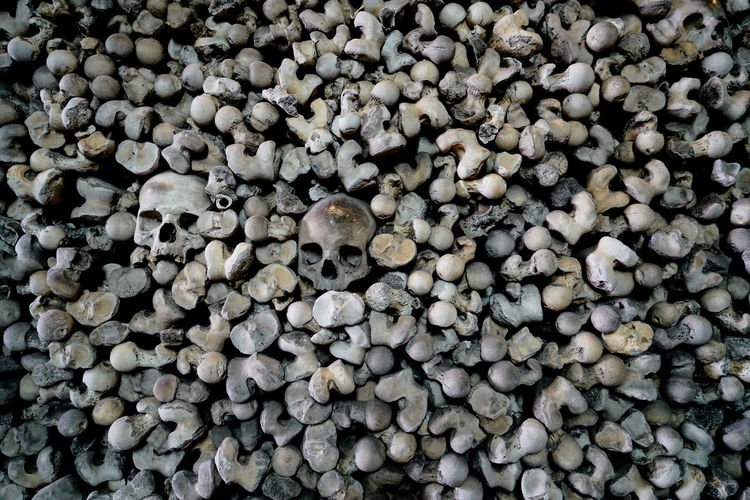 Abundance Backgrounds Bones Close-up Creepy Crypt Detail Full Frame Large Group Of Objects No People Repetition Shape Skull St Leonard's Church Taboo