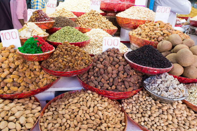 Various dried fruits for sale at market stall
