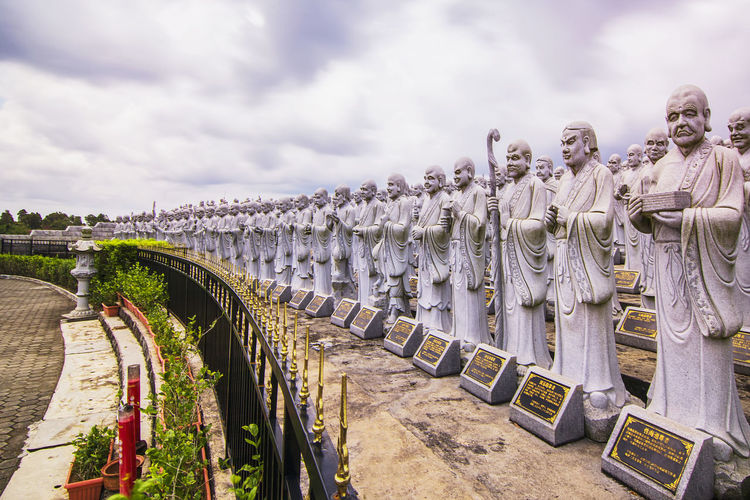 Monastery of a thousand statues Landscape_Collection Architecture Bridge - Man Made Structure Budha Temple Budhism Budhist Temple Cloud - Sky Day In A Row Large Group Of People Outdoors Relegion Sky