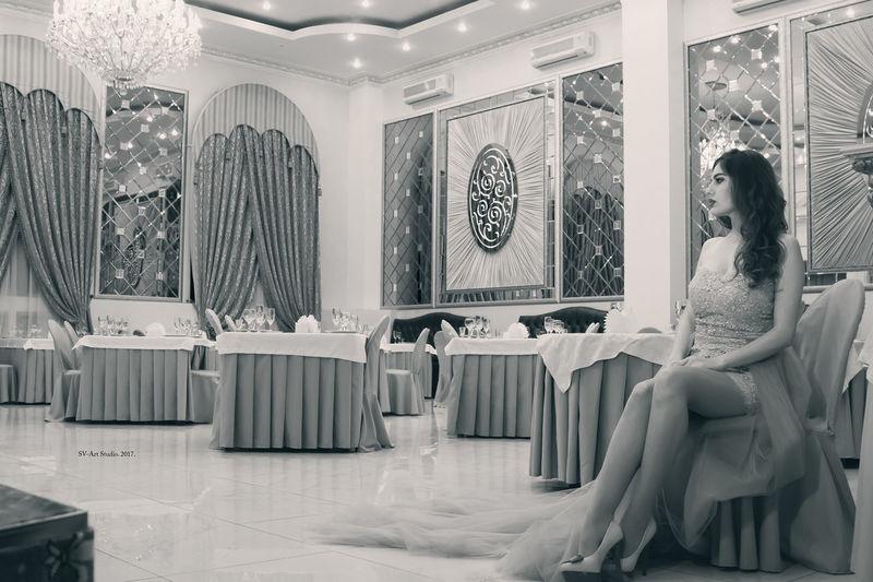 Beauty Sitting Fashion Old-fashioned Bridal Shop Boutique Clothing Store Wedding Dress Fashion Designer Dressing Room Trying On Bridesmaid