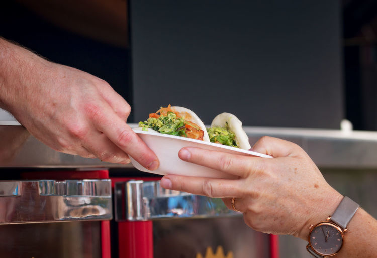 Serving healthy fast food at street food festival