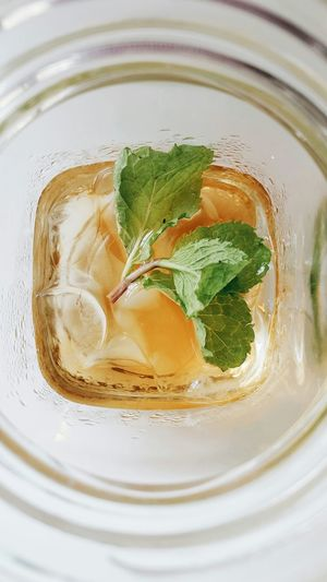 High angle view of lychee tea in glass