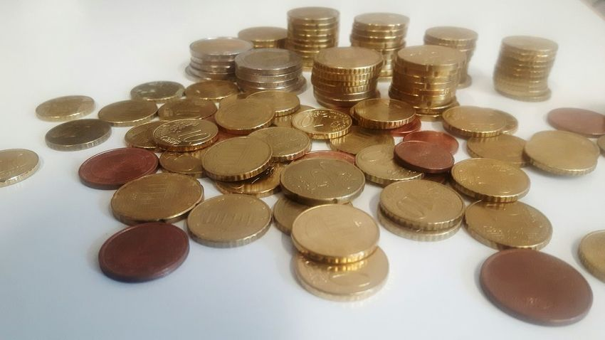 Large Group Of Objects High Angle View No People Indoors  Business Finance And Industry Coin White Background Day Close-up Money Euro Coins On The Table Coins Indoors