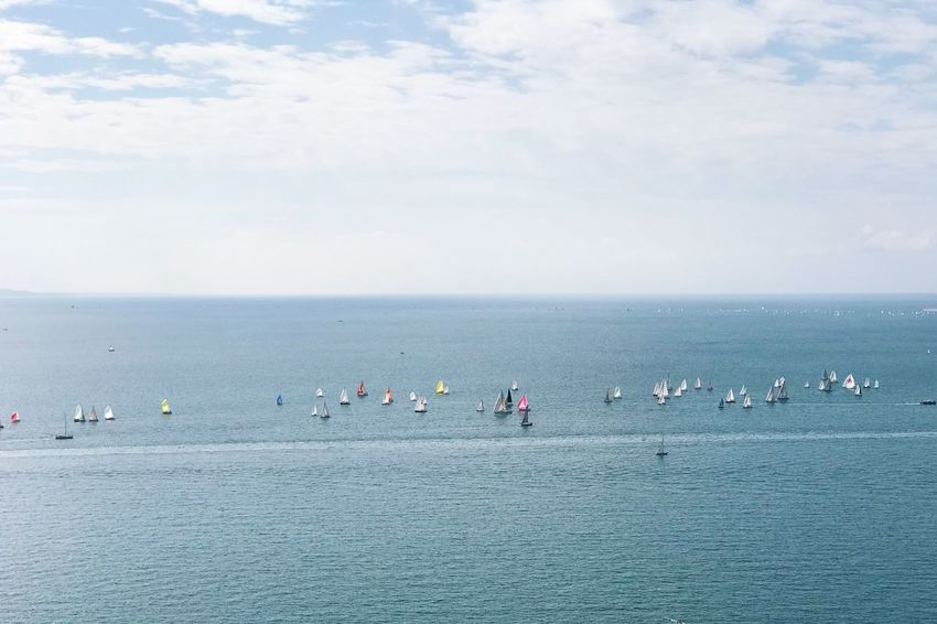 Sky Sea Water Horizon Over Water Nature Beauty In Nature Scenics Large Group Of People Cloud - Sky Tranquility Outdoors Day Real People Men Beach Large Group Of Animals People Leisure Activity Competition Teamwork Regatta Sailing Regata Sport Barcolana49 Lost In The Landscape Go Higher