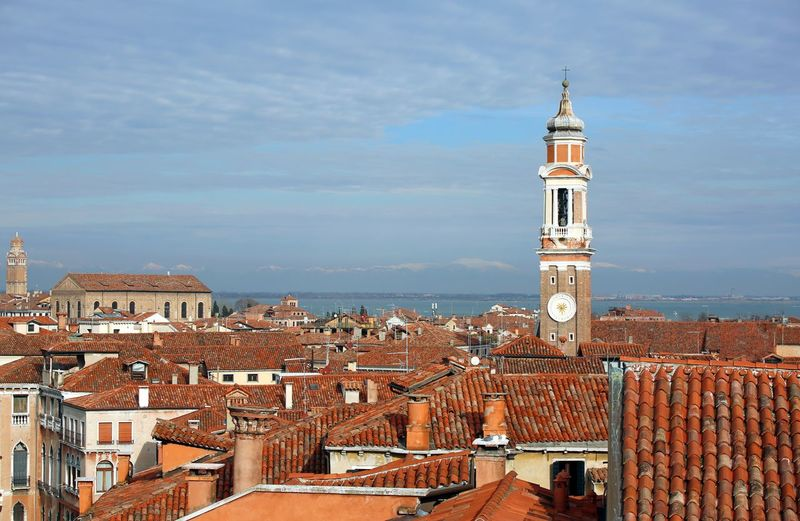 Bell tower of Church of the Holy Apostles of Christ and many house in the Cannaregio sestiere of the Island of Venice in Italy #VENEZIA #Venice Architecture Drone  European Alps European Birds Place Santi Apostoli Traveling Venetian Venezia Venice, Italy Aerial View Bell Tower Canareggio Island Italian Italy Outdoor Outdoors Palace Sestiere Traveling Photography Veneto Venice