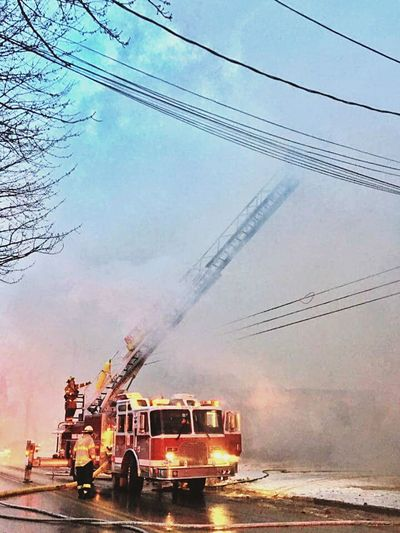 Firemen At Work Thick Smoke From Fire Heroes Risking It All Thankful✨ Outdoors Doom Skies Homes Destroyed Lowlightphotography