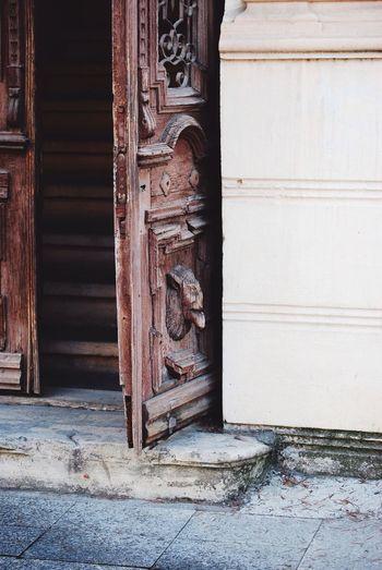 Close-up of door sculpture