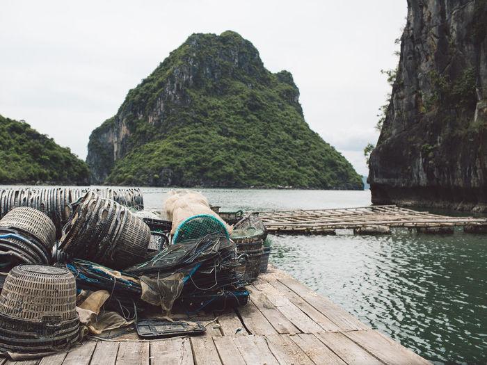 Fishing Baskets On Pier At Halong Bay