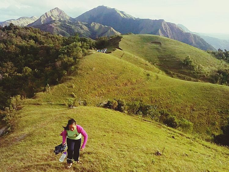 Miles Away Two People Mountain Nature Outdoors Green Color Landscape Mountain Range Beauty In Nature Full Length Leisure Activity Cloud - Sky Scenics Grass Agriculture People Adult Sky Day Ungyod-Tigmalapad Miagao Iloilo Philippines BanbananAdventures Tinagong Dagat