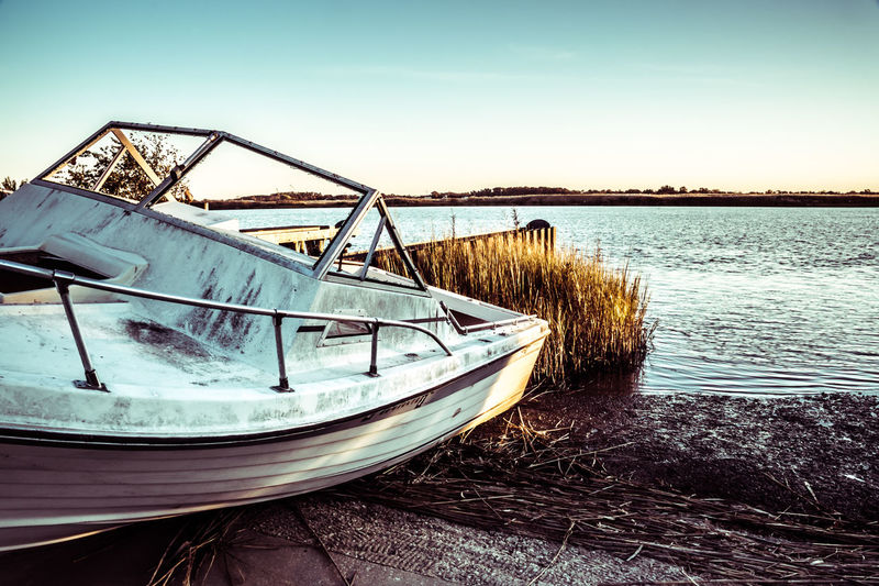 Abandoned Abandoned Boat Abandoned Boats Beach Beauty In Nature Day Nature Nautical Vessel No People Outdoors Salem County NJ Sea Sky Water