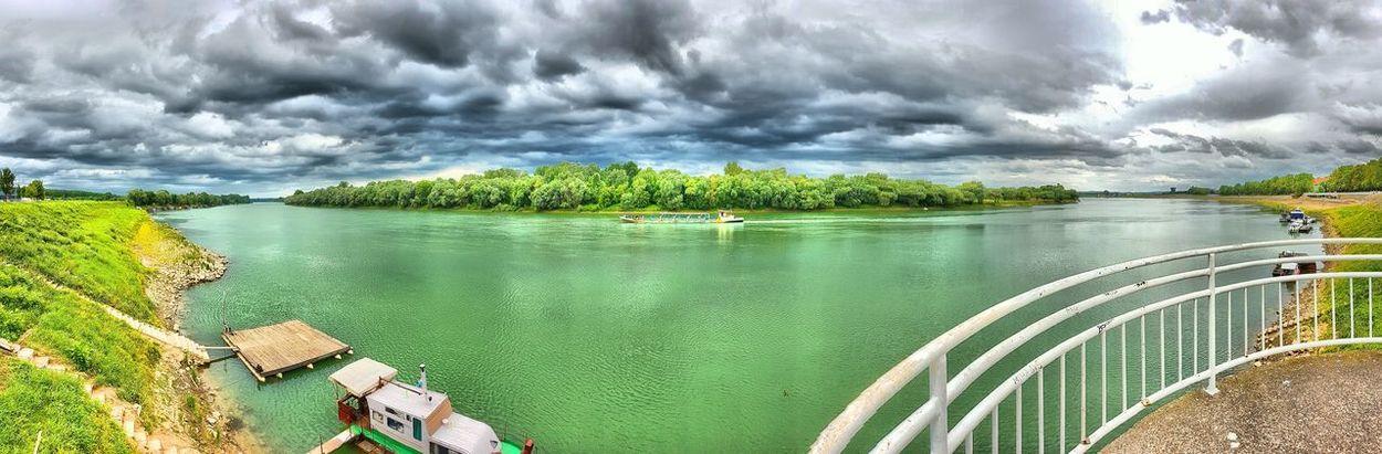 Croatia Slavonski Brod River Boat Tree Water Storm Cloud Mountain Nautical Vessel Sky Cloud - Sky Landscape Sailing Boat