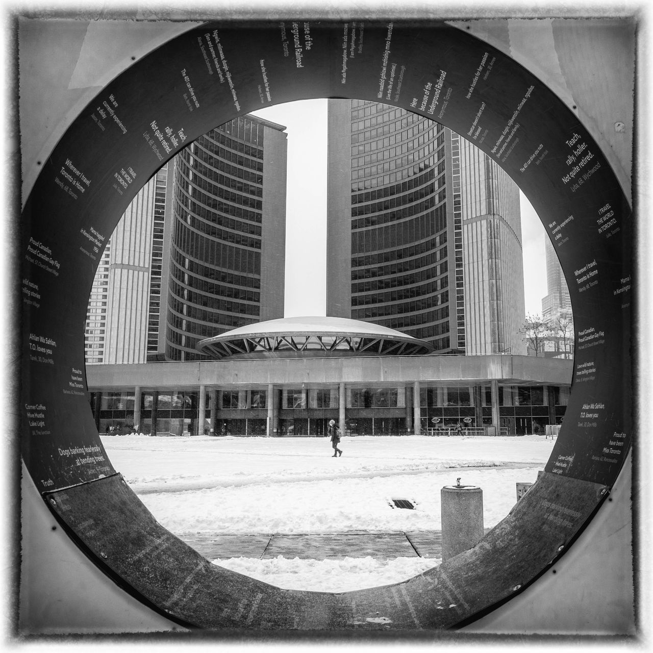 built structure, architecture, shape, circle, building exterior, geometric shape, city, day, transfer print, auto post production filter, incidental people, sky, building, outdoors, round, nature, design, office building exterior, people, clear sky, skyscraper