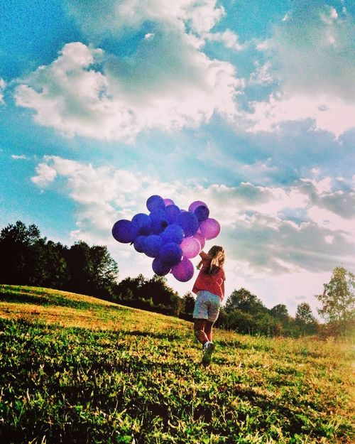 Happy Cloud - Sky Sky People Children Only Girls One Person Nature Balloon Outdoors Firephotography Day Tree Lenovotography Lenovophography