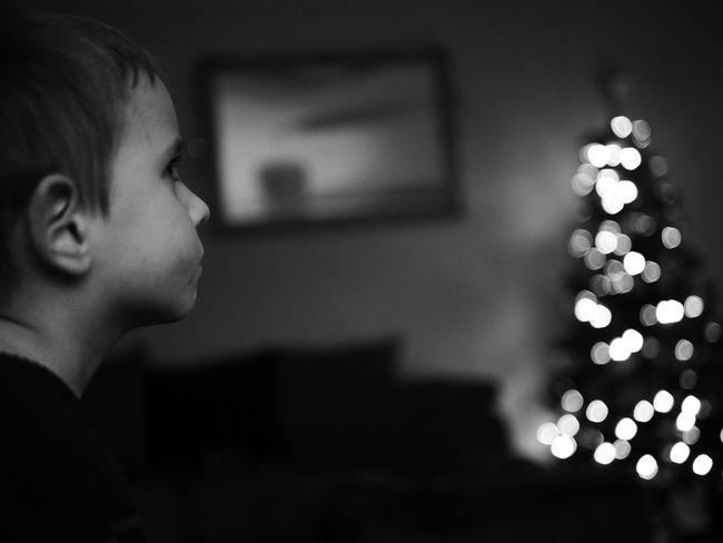 Panasonicgx7 Blackandwhite Son Bokeh Bokehlicious Christmas Christmas Tree Beautiful Portrait Blackandwhite Photography