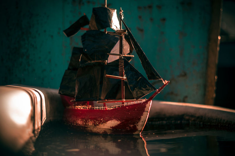 Abandoned boat on table