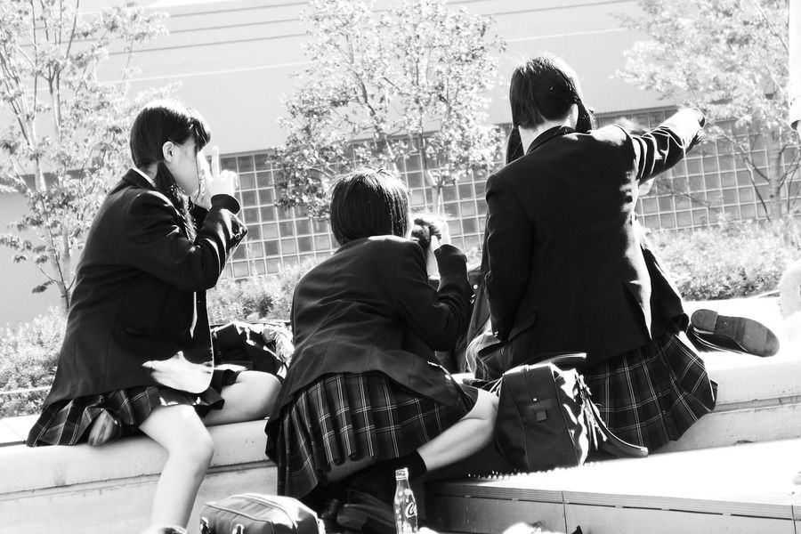 Blackandwhite Day Friends Friendship Japanese  Japanese Girl Japanese Style Leisure Activity Lifestyles Monochrome Outdoors School Girl School Uniforms Around The World Selfie Selfies Taking Pictures Taking Selfies Togetherness Tokyo Street Photography Women Around The World