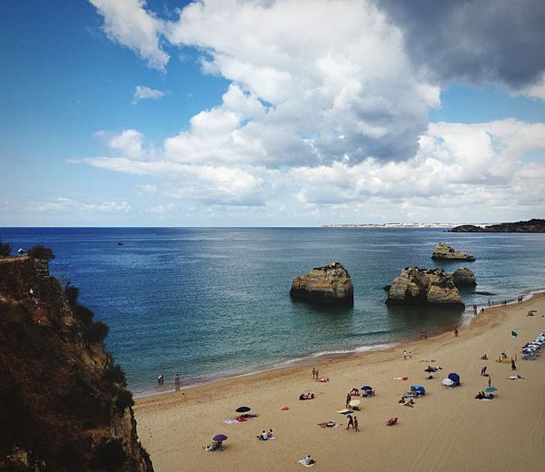 Love this view... Beachphotography Rocks Sand Sky And Clouds Portugal Praia Da Rocha