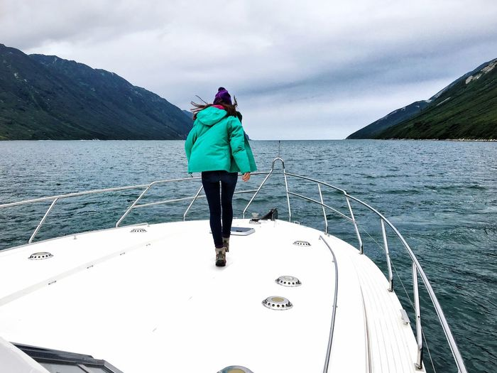 Gulf White Boat Water Pacific Ocean Ocean View Green Coat Nature Girl Sailing Running Girl Wind Adventure Kamchatka Outdoors Cliff Russian Nature