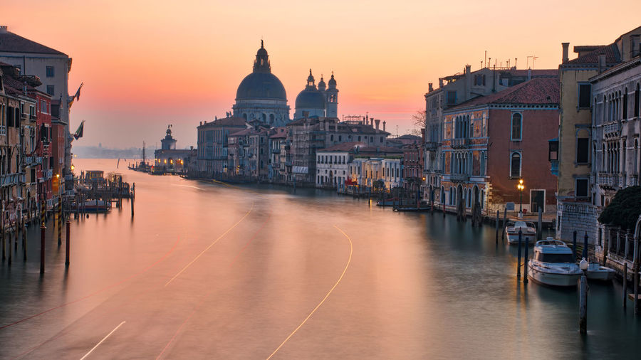 Venezia Venice, Italy Architecture Building Exterior Built Structure Canal City Cityscape Day Dome Gondola - Traditional Boat Mode Of Transport Moored Nautical Vessel No People Outdoors Sky Sunset Transportation Travel Destinations Venice Water Waterfront