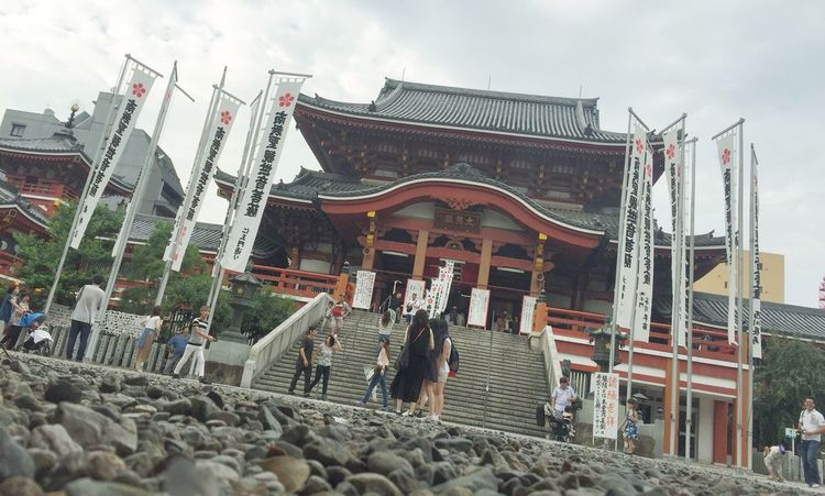 Traveling Architecture Culture Flag Low Angle View Building Exterior Built Structure Sky Cloud - Sky History Construction Famous Place Shrine Travel Photography Photography Nagoya Vscocam Eye4photography